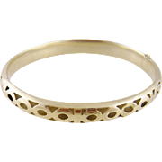 Modern  Vintage 14 Karat Gold  with Open weave Pattern  BANGLE BRACELET