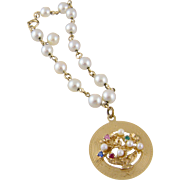 Modern Vintage 14 KARAT GOLD withCultured Pearls  and Floral Gemstone Charm BRACELET