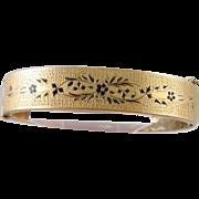 Antique 14 Karat Gold  TAILLE d' EPARGNE ENAMEL Fans and Floral Victorian Bracelet