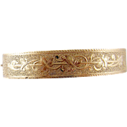 Antique Victorian 14 Karat Gold with ENGRAVING BRACELET
