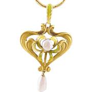 Antique  ART NOUVEAU KREMENTZ  14 Karat Gold and Enamel  and  Saw Tooth Pearls Pendant