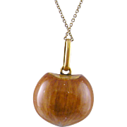 Rare Antique Georgian 14 K GOLD ACORN with Enamel and Gold Grill Vinaigrette Pendant
