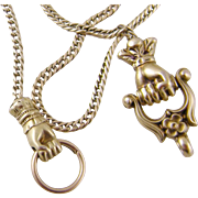 Antique Victorian 14 Karat Gold  with Double Hands   on 65 INCH SLIDE CHAIN