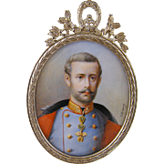 Antique 1800's Crown Prince Rudolf Austria  Signed   J Kozany MINIATURE PORTRAIT