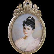 Antique  1800's Princess Stephanie of Austria  by J. Kozany  MINIATURE PORTRAIT