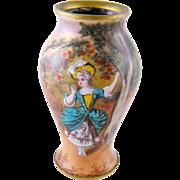 Antique Austrian Viennese Enamel Portrait Style  MARIE ANTOINETTE at VERSAILLES Miniature Vase
