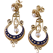 Antique Victorian 14 Karat Gold with Blue  ENAMEL and Half Moon  EARRINGS