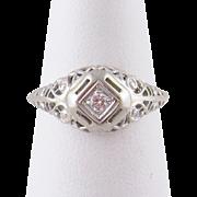 Antique Art Deco 14 Karat White Gold  DIAMOND RING