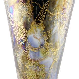 Superb Antique  FAIRYLAND LUSTRE Wedgwood English Woman Butterfly Vase