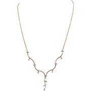 Vintage Modern 14 Karat Gold with  over 1 Carat of Marquise Diamonds  Foliate Design  DECOLLETAGE NECKLACE