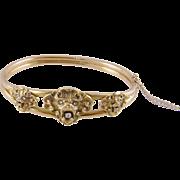 Antique 14 Karat Gold with Diamonds  Gargoyles Lions Heads  BANGLE BRACELET