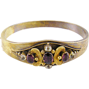 Antique 14 Karat Gold with Garnets and Colorless SAPPHIRES BRACELET