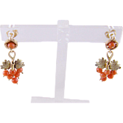 Antique 14 Karat Gold CORAL Grape Cluster Leaf EARRINGS