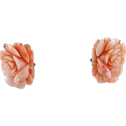 Superb Vintage 14 Karat Gold Carved  ANGEL SKIN CORAL Floral Earrings
