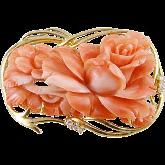 Superb Vintage 14 Karat Gold  CARVED CORAL with Diamonds Floral Brooch