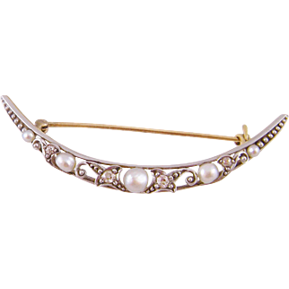 Antique 14 Karat GOLD over PLATINUM Freshwater Pearls and Diamonds Crescent Brooch