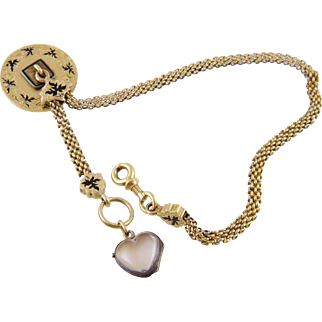 Antique Victorian 14 Karat Gold Roundel with Black Enamel and  ROCK CRYSTAL HEART Watch Chain