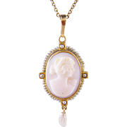 Antique Gold HARDSTONE CAMEO with Freshwater  and Seed Pearls Pendant