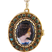 Antique French 14 Karat  GOLD ENAMEL Queen Portrait with Turquoise Frame Locket Pendant