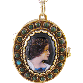 Antique French 14 Karat  GOLD ENAMEL Queen Portrait with Turquoise Frame Locket Pendant