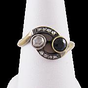 Antique Georgian 14 Karat Gold with  ROSE CUT DIAMONDS  and Sapphire Ring