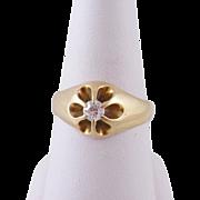 Vintage 14 Karat Gold with Stunning Center 1/3 Carat EUROPEAN CUT DIAMOND RING