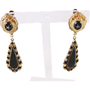 Antique Victorian 12 Karat Gold  BLACK ONYX and SEED PEARL Drop Earrings