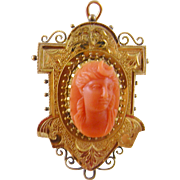 Antique Carved Coral GODDESS DIANA in 14 Karat Gold Frame