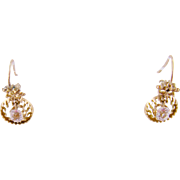 Antique 14 Karat Gold with Center  PASTE ROUNDEL Dangle Earrings