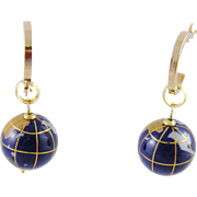 Vintage Modern 14 Karat Gold Enamel Work  GLOBE EARRINGS