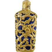 Antique Sapphire Blue Glass  w 18 Karat Gold Cap and Overlay  in Shagreen Case  PERFUME BOTTLE