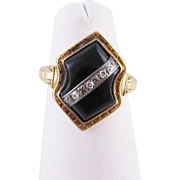 Antique Victorian Childs 10 Karat Gold with  Black Onyx and Rose Cut Diamonds MEMORIAL RING