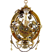 Monumental Antique 14 Karat Gold Cuffed  HAND & BUTTERFLY Seed Pearls and Gemstones Locket Pendant