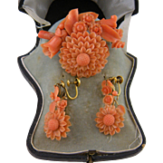 Superb Antique  CARVED CORAL 14 KT Gold Sunflower Brooch and Earrings Set  in Original Leather Fitted Case