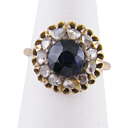 Antique 14 Karat Gold with 1 1/4 Carat Blue  SAPPHIRE and Rose Cut  DIAMONDS RING
