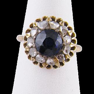 Antique 14 Karat Gold with 1 1/4 Carat Blue  SAPPHIRE and Rose Cut  DIAMONDS RING