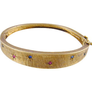 Vintage 1940's 14 Kt GOLD BANGLE with Rubies Sapphires and Emeralds