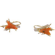 Antique Victorian 14 Karat Gold Carved Coral and mother of Pearl  FLY EARRINGS