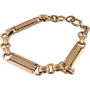 Antique French Link   14 Karat ROSE GOLD with Filigree Bracelet