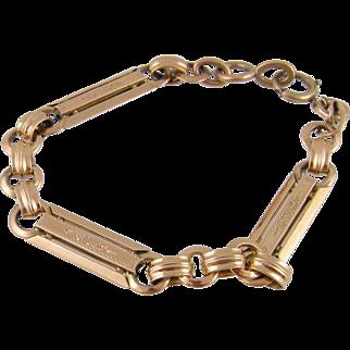 Antique French Link   14 Karat ROSE GOLD with Filigree Bracelet
