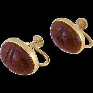 Antique Victorian 14 Karat Gold Carved Carnelian SCARAB EARRINGS
