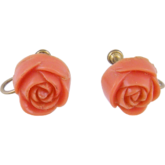 Antique Pair Gold Floral Rose Bud  Carved  CORAL EARRINGS