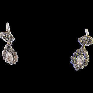 Antique English Georgian Silver BLACK DOT PASTE Dangle Earrings