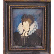 Antique English Elizabethan Woman  Wearing  BLACK ONYX JEWELRY Miniature Portrait