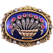 Superb Antique 18 Karat Gold with Rose Cut Diamonds Rubies and Blue Enamel Floral  GIARDINETTI PENDANT Brooch