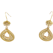 Vintage 14 Karat GOLD WIRE WORK Floral and Pear Shape Hook Earrings