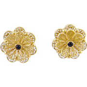 Vintage 14 Karat  GOLD WIRE WORK Floral with Sapphire Center Earrings