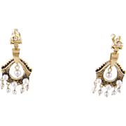 Antique Victorian 14 Karat Gold  with  Seed Pearls CLASSICAL REVIVAL  EARRINGS