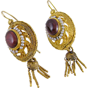 Antique Victorian 14 Karat Gold  ETRUSCAN REVIVAL Garnet with Seed Pearls Earrings