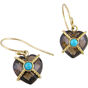 Vintage 14 Karat Gold Smoky  TOPAZ with TURQUOISE Heart Earrings
